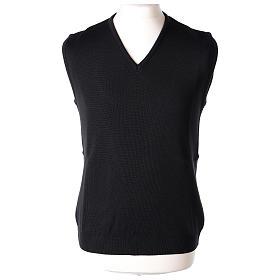 Pull sans manches prêtre noir col en V jersey simple 50% acrylique 50% laine mérinos In Primis s1