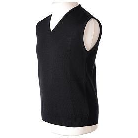 Pull sans manches prêtre noir col en V jersey simple 50% acrylique 50% laine mérinos In Primis s3