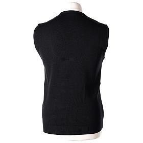 Pull sans manches prêtre noir col en V jersey simple 50% acrylique 50% laine mérinos In Primis s4