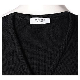 Pull sans manches prêtre noir col en V jersey simple 50% acrylique 50% laine mérinos In Primis s5