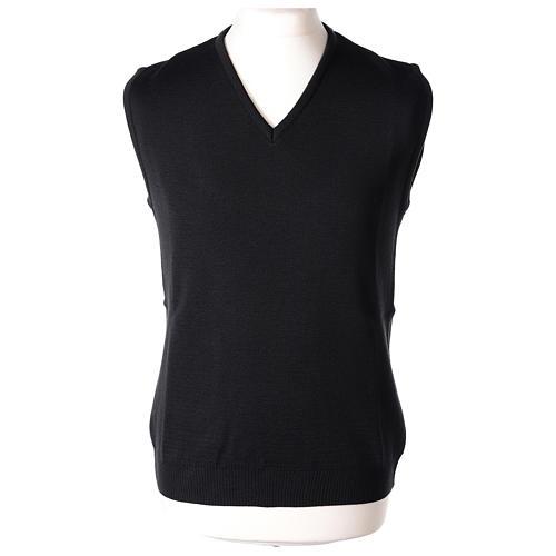 Pull sans manches prêtre noir col en V jersey simple 50% acrylique 50% laine mérinos In Primis 1