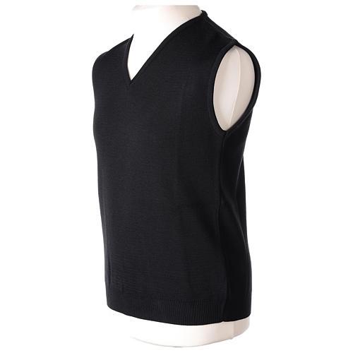 Pull sans manches prêtre noir col en V jersey simple 50% acrylique 50% laine mérinos In Primis 3