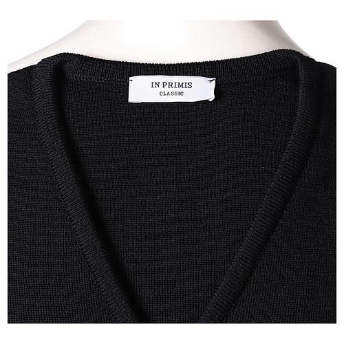 Pull sans manches prêtre noir col en V jersey simple 50% acrylique 50% laine mérinos In Primis 5