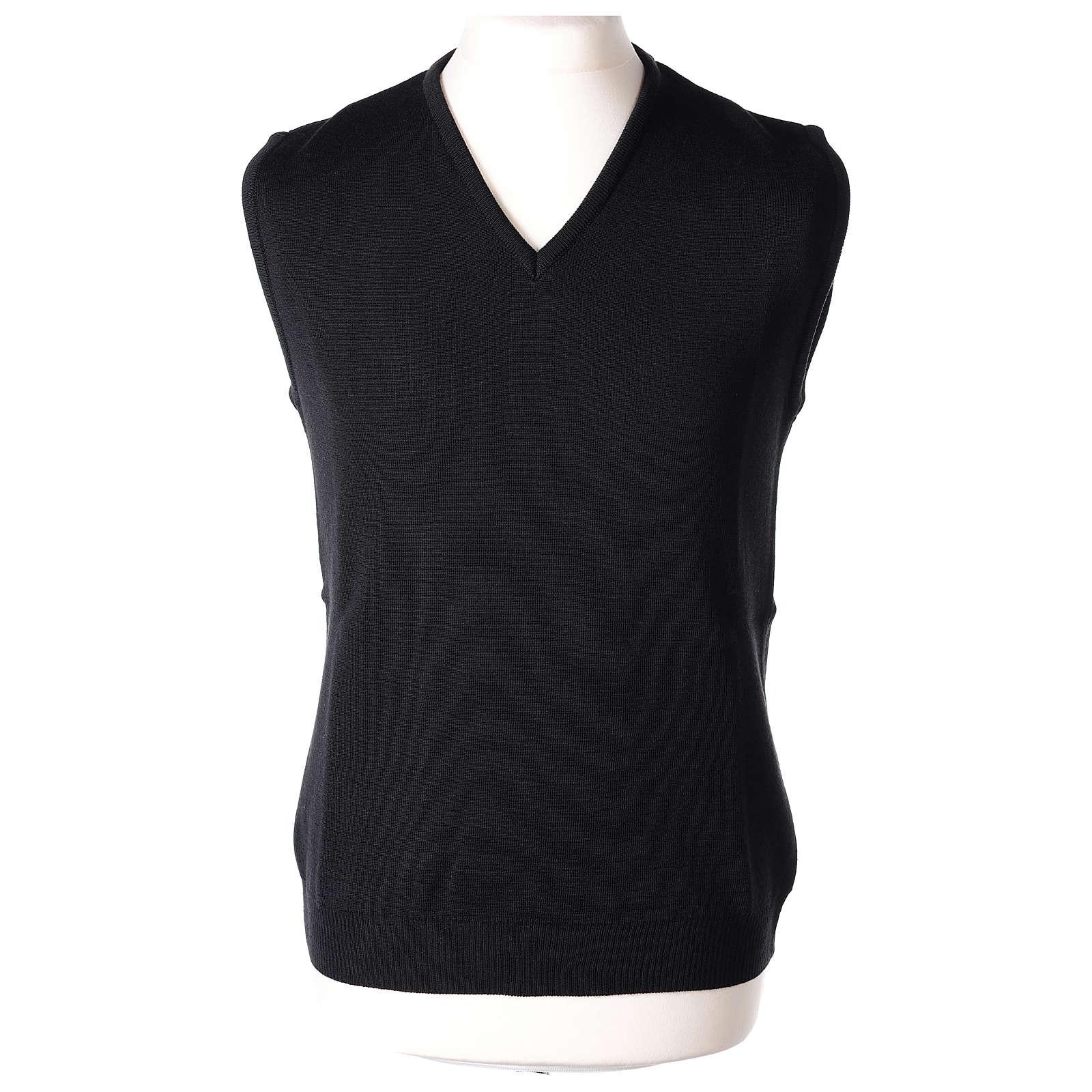 Gilet sacerdote nero in maglia rasata 50% acrilico 50% lana merino In Primis 4
