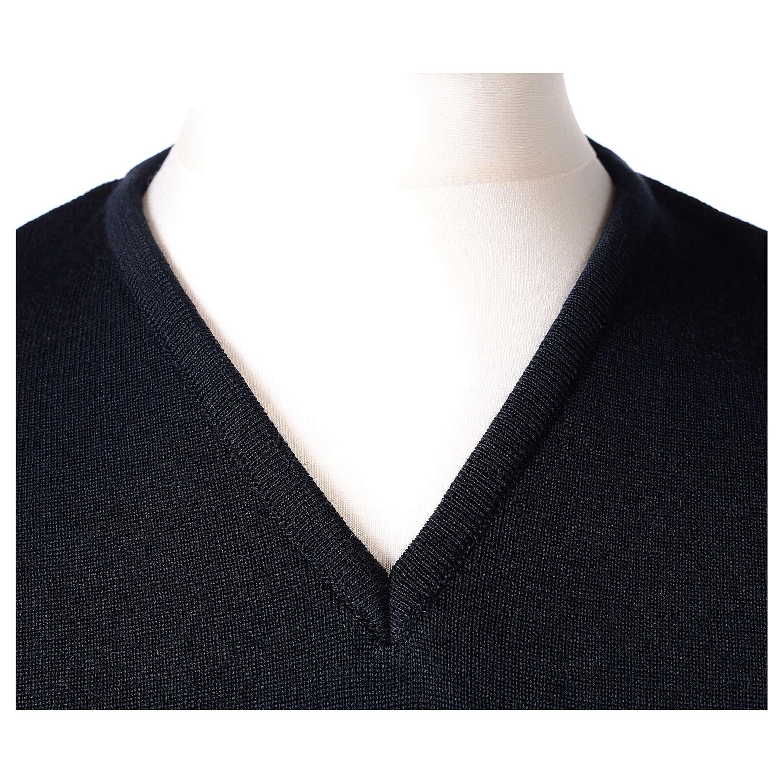 Chaleco sacerdote azul cerrado punto unido 50% lana merina 50% acrílico In Primis 4
