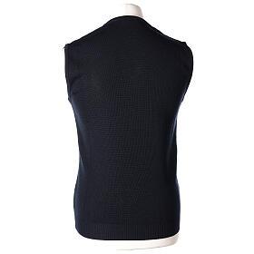 Chaleco sacerdote azul cerrado punto unido 50% lana merina 50% acrílico In Primis s4