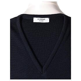 Chaleco sacerdote azul cerrado punto unido 50% lana merina 50% acrílico In Primis s5