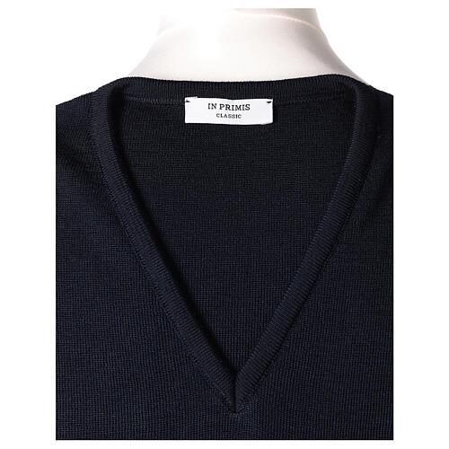 Chaleco sacerdote azul cerrado punto unido 50% lana merina 50% acrílico In Primis 5