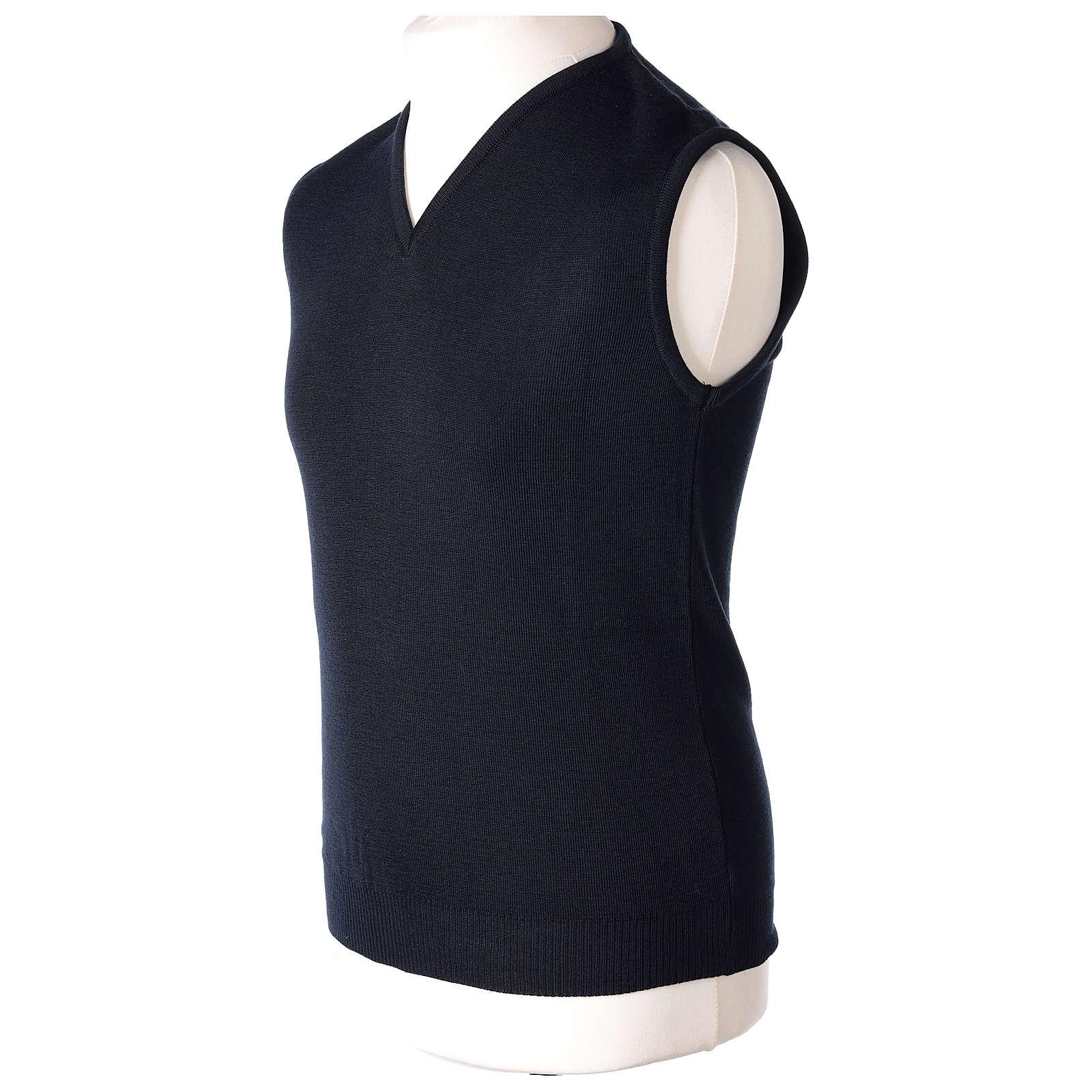 Pull sans manches prêtre bleu col en V jersey simple 50% acrylique 50% laine mérinos In Primis 4