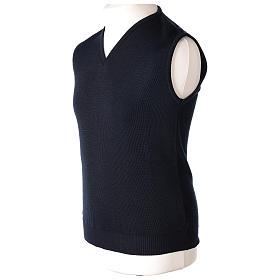 Pull sans manches prêtre bleu col en V jersey simple 50% acrylique 50% laine mérinos In Primis s3