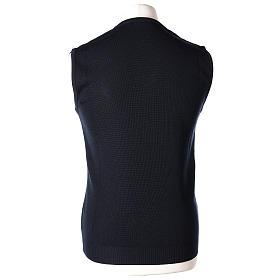 Pull sans manches prêtre bleu col en V jersey simple 50% acrylique 50% laine mérinos In Primis s4