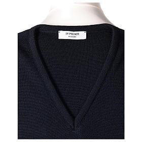 Pull sans manches prêtre bleu col en V jersey simple 50% acrylique 50% laine mérinos In Primis s5
