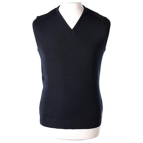 Pull sans manches prêtre bleu col en V jersey simple 50% acrylique 50% laine mérinos In Primis 1