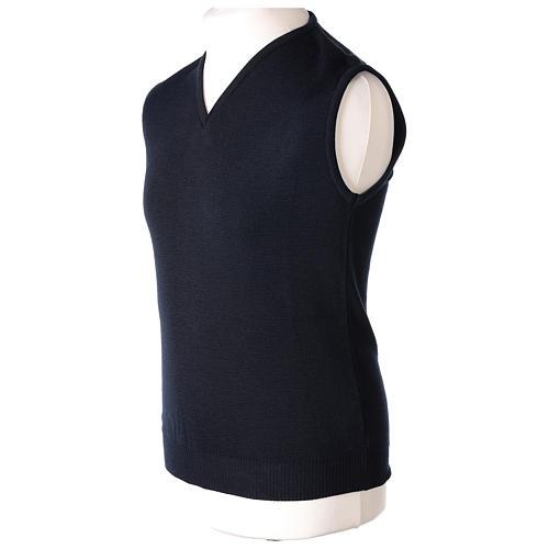 Pull sans manches prêtre bleu col en V jersey simple 50% acrylique 50% laine mérinos In Primis 3