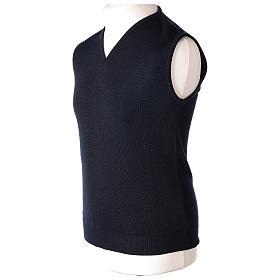 Clergy sleeveless blue jumper plain fabric 50% acrylic 50% merino wool In Primis s3