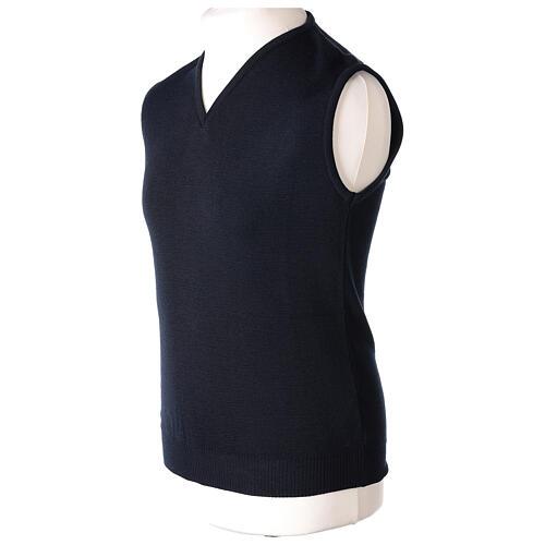 Clergy sleeveless blue jumper plain fabric 50% acrylic 50% merino wool In Primis 3