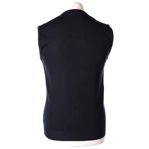 Clergy sleeveless blue jumper plain fabric 50% acrylic 50% merino wool In Primis 4