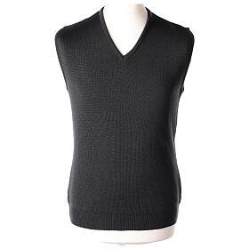 Chaleco sacerdote gris antracita cuello V punto unido 50% lana merina 50% acrílico In Primis s1