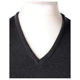 Chaleco sacerdote gris antracita cuello V punto unido 50% lana merina 50% acrílico In Primis s2