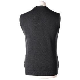Chaleco sacerdote gris antracita cuello V punto unido 50% lana merina 50% acrílico In Primis s4