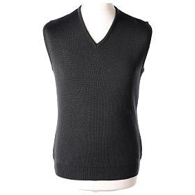 Pull sans manches prêtre noir gris anthracite en V jersey simple 50% acrylique 50% laine mérinos In Primis s1
