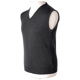 Pull sans manches prêtre noir gris anthracite en V jersey simple 50% acrylique 50% laine mérinos In Primis s3