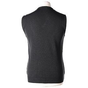 Pull sans manches prêtre noir gris anthracite en V jersey simple 50% acrylique 50% laine mérinos In Primis s4