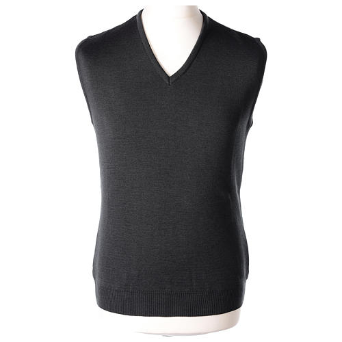 Pull sans manches prêtre noir gris anthracite en V jersey simple 50% acrylique 50% laine mérinos In Primis 1