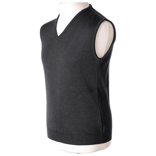Pull sans manches prêtre noir gris anthracite en V jersey simple 50% acrylique 50% laine mérinos In Primis 3