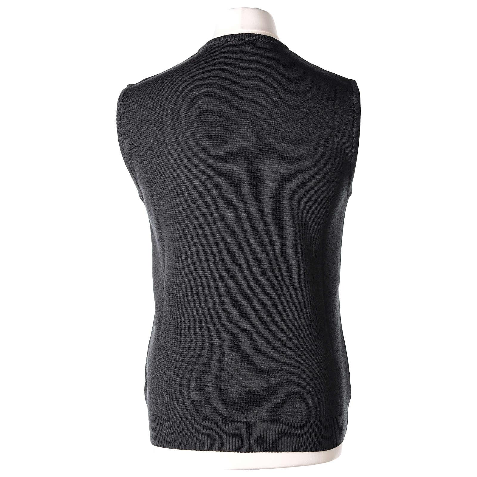 Gilet sacerdote grigio antracite collo V maglia unita 50% lana merino 50% acrilico In Primis 4