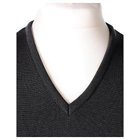 Gilet sacerdote grigio antracite collo V maglia unita 50% lana merino 50% acrilico In Primis s2