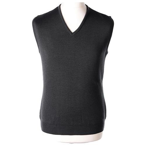 Gilet sacerdote grigio antracite collo V maglia unita 50% lana merino 50% acrilico In Primis 1