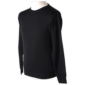 Jersey sacerdote cuello redondo negro punto unido 50% lana merina 50% acrílico In Primis s3