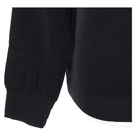 Jersey sacerdote cuello redondo negro punto unido 50% lana merina 50% acrílico In Primis s4