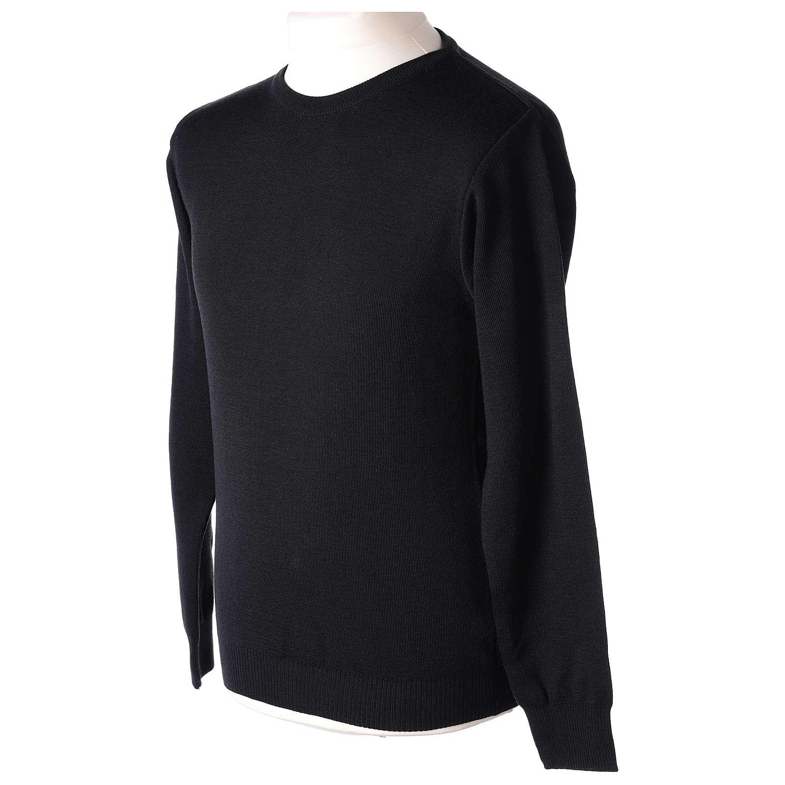 Pull prêtre ras-de-cou noir jersey simple 50% laine mérinos 50% acrylique In Primis 4