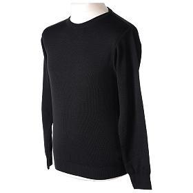Pull prêtre ras-de-cou noir jersey simple 50% laine mérinos 50% acrylique In Primis s3