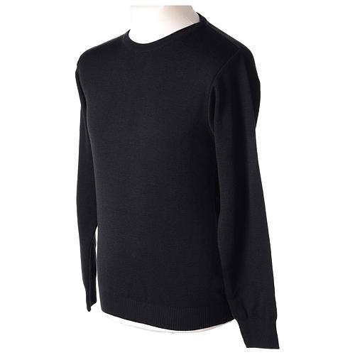 Pull prêtre ras-de-cou noir jersey simple 50% laine mérinos 50% acrylique In Primis 3