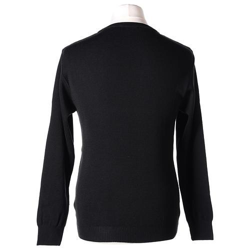 Pull prêtre ras-de-cou noir jersey simple 50% laine mérinos 50% acrylique In Primis 5
