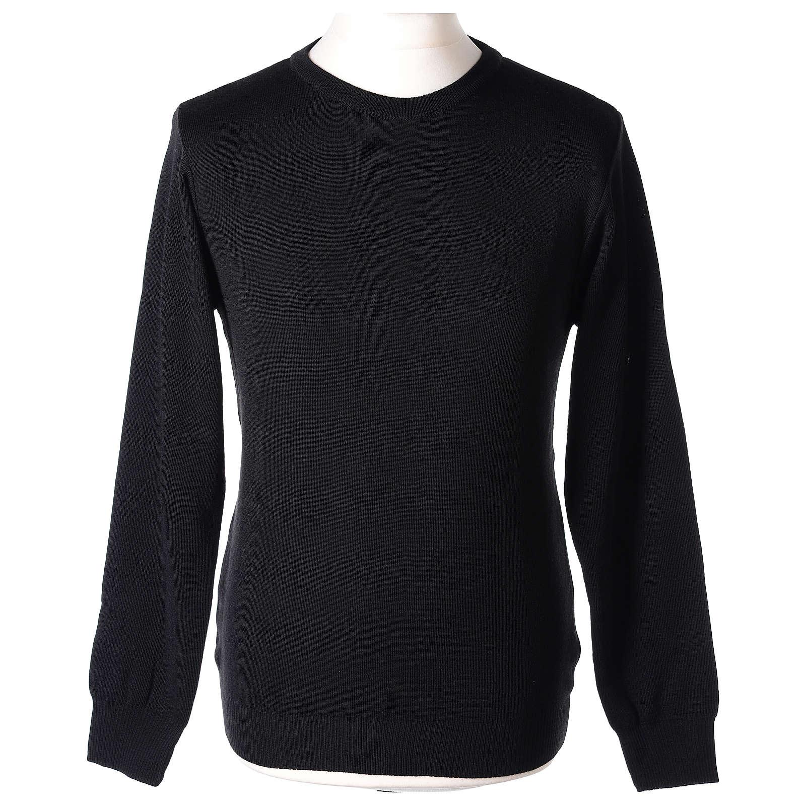 Pullover sacerdote girocollo nero in maglia unita 50% lana merino 50% acrilico In Primis 4
