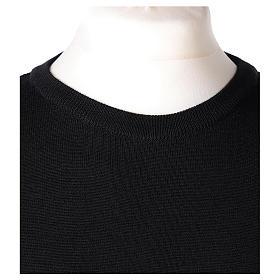 Pullover sacerdote girocollo nero in maglia unita 50% lana merino 50% acrilico In Primis s2