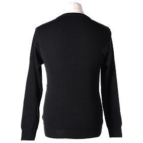 Pullover sacerdote girocollo nero in maglia unita 50% lana merino 50% acrilico In Primis s5