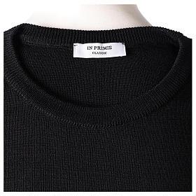Pullover sacerdote girocollo nero in maglia unita 50% lana merino 50% acrilico In Primis s6
