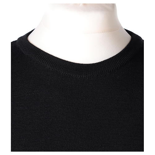 Pullover sacerdote girocollo nero in maglia unita 50% lana merino 50% acrilico In Primis 2
