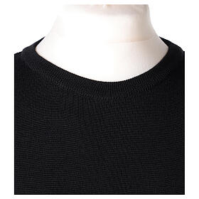 Pulôver sacerdote de gola redonda preto em tela uniforme 50% lã de merino 50% acrílico In Primis s2