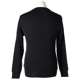 Pulôver sacerdote de gola redonda preto em tela uniforme 50% lã de merino 50% acrílico In Primis s5