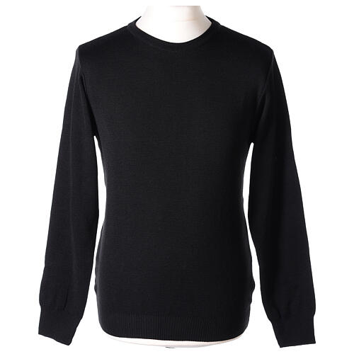 Pulôver sacerdote de gola redonda preto em tela uniforme 50% lã de merino 50% acrílico In Primis 1
