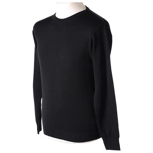 Pulôver sacerdote de gola redonda preto em tela uniforme 50% lã de merino 50% acrílico In Primis 3