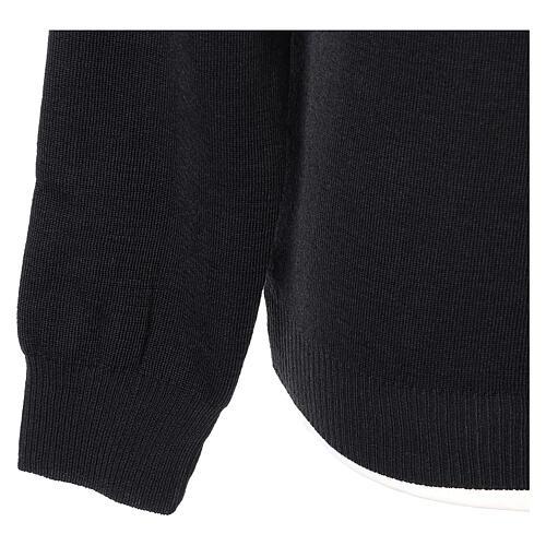 Pulôver sacerdote de gola redonda preto em tela uniforme 50% lã de merino 50% acrílico In Primis 4