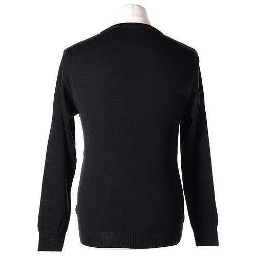 Pulôver sacerdote de gola redonda preto em tela uniforme 50% lã de merino 50% acrílico In Primis 5