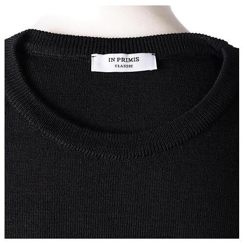 Pulôver sacerdote de gola redonda preto em tela uniforme 50% lã de merino 50% acrílico In Primis 6